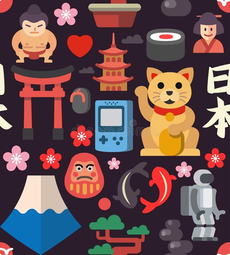 Japan seamless icon background vector illustration