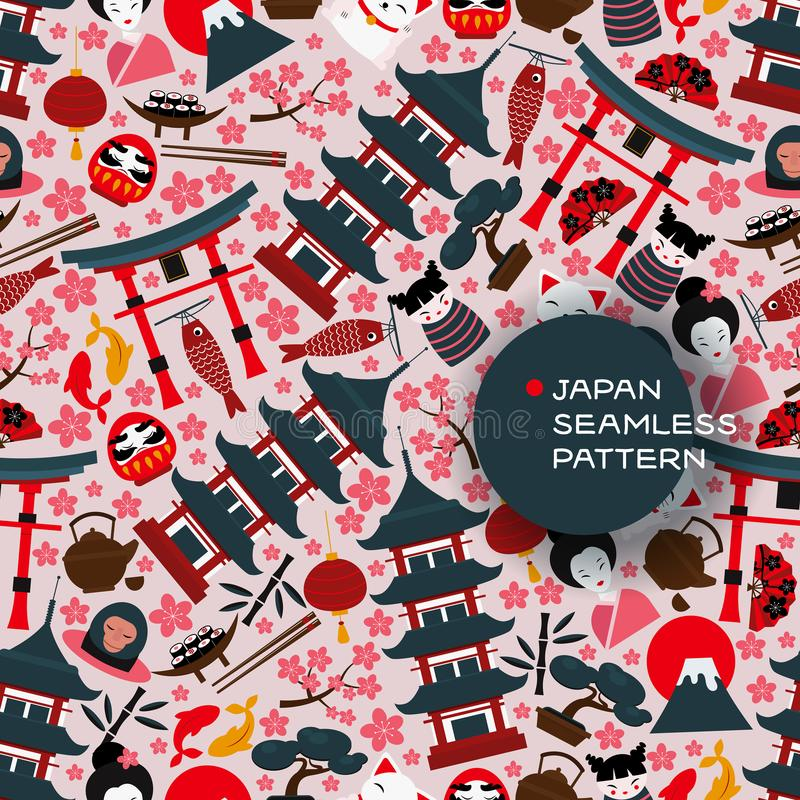 Japan seamless pattern, vector illustration. Main symbols of Japanese culture, traditional asian landmarks and travel. Attractions. Pagoda, torii gate, mount vector illustration