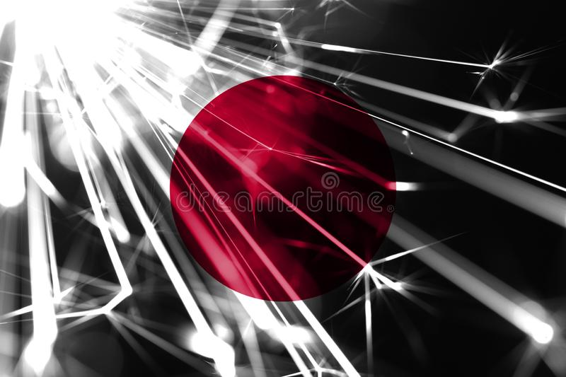 Japan shining fireworks sparkling flag. New Year 2019 and Christmas futuristic shiny party concept flag. Japan shining fireworks sparkling flag. New Year 2019 royalty free illustration