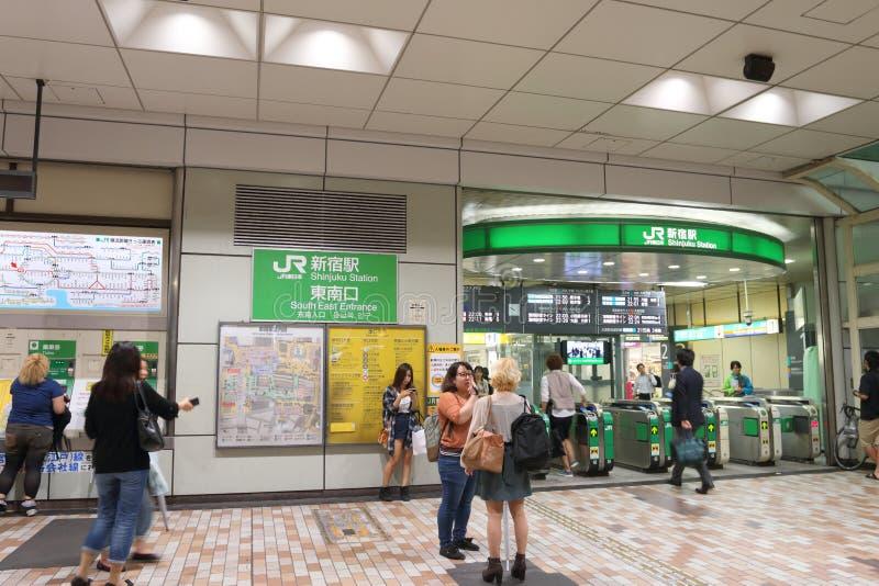 Japan : Shinjuku Station. Shinjuku Station is a train station located in Shinjuku and Shibuya wards in Tokyo, Japan. Serving as the main connecting hub for rail stock images