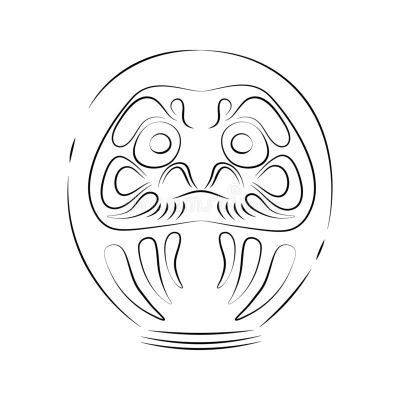 Japan shinto ceremony daruma doll vector illustration simplified travel icon. Ritual talisman. Buddha shrine. Chinese. Asian traditional symbol. Ethnic symbol royalty free illustration