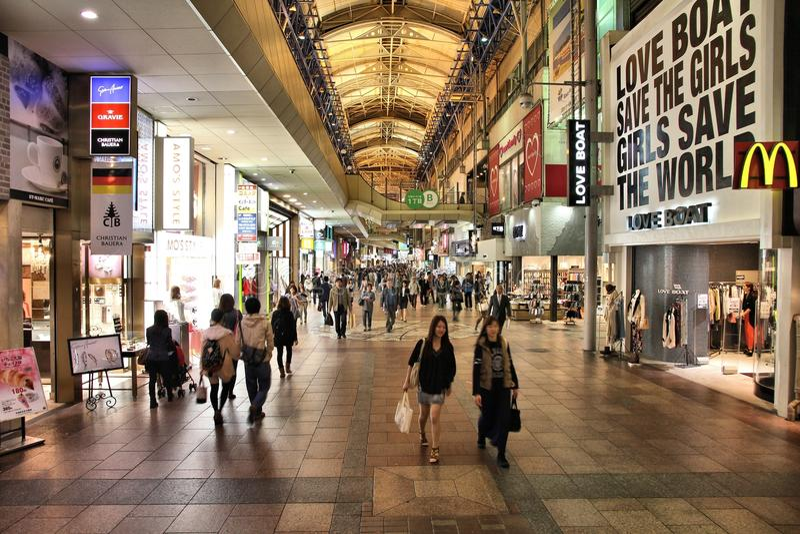 Japan shoppinggata royaltyfri fotografi