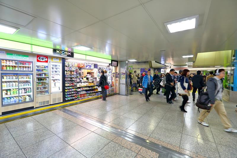Japan: shops. Shops in 1 of the many train stations in Tokyo.nLarge crowd passing by royalty free stock image