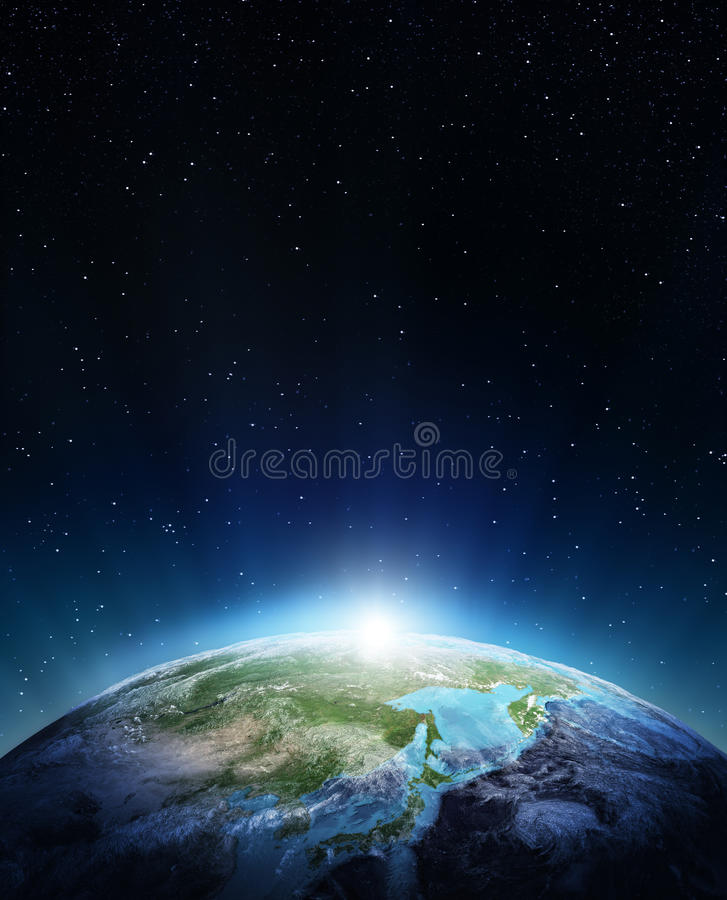 Japan and Siberia. Elements of this image furnished by NASA royalty free illustration