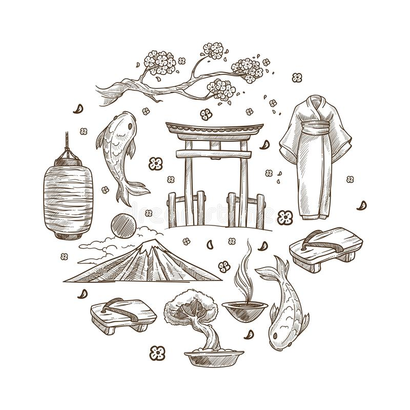 Japan sketch symbols travel to Oriental country Japanese culture royalty free illustration