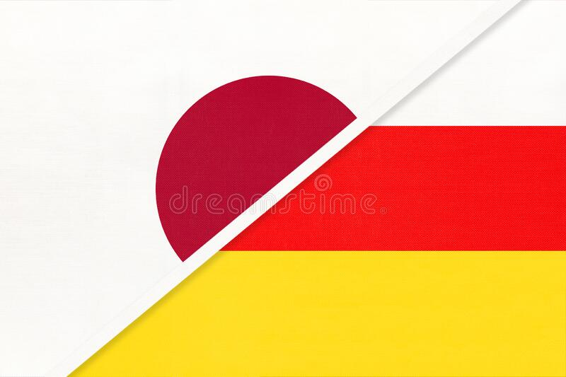 Japan and South Ossetia, symbol of two national flags. Relationship between Asian countries. Japan and South Ossetia, symbol of two national flags from textile stock image