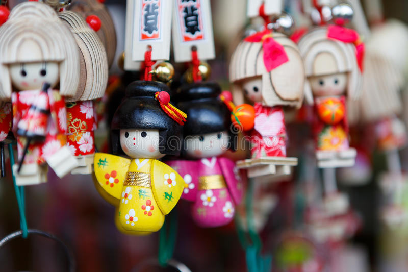Japan souvenir keychain. Different style of keychain souvenir. This picture was taken in shopping street Asakusa, temple Senso-ji in Asakusa, Tokyo, Japan royalty free stock image