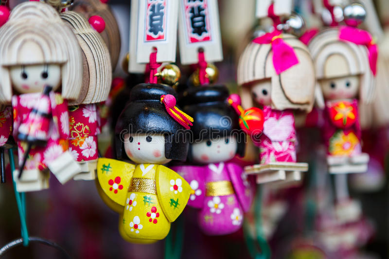 Japan souvenir keychain. Different style of keychain souvenir. This picture was taken in shopping street Asakusa, temple Senso-ji in Asakusa, Tokyo, Japan. Photo stock photography