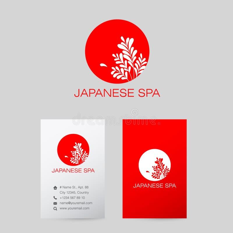 Japan spa logo. Moon Spa logo. Beauty red logo. Business card. vector illustration