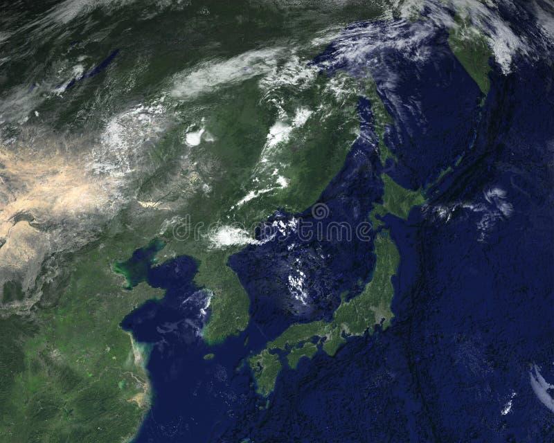 Japan Space Satellite View Asia Stock Photo Image - Japan map satellite