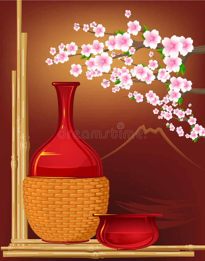 Free Japan Stillife With Flowers Royalty Free Stock Photo - 26549265