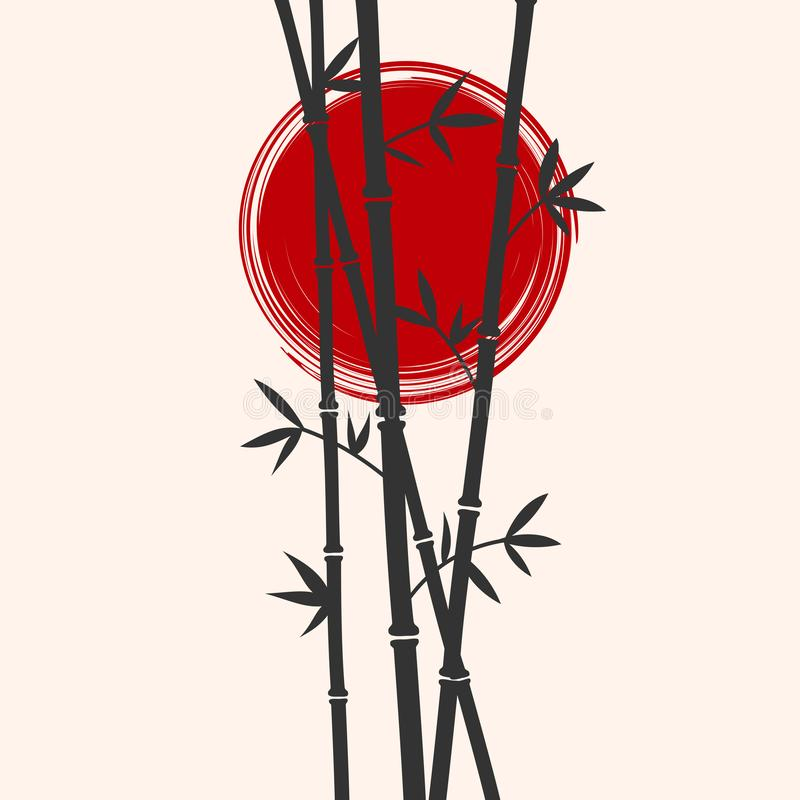 Japan styled bamboo and red sun silhouettes. Flat vector illustration. royalty free illustration