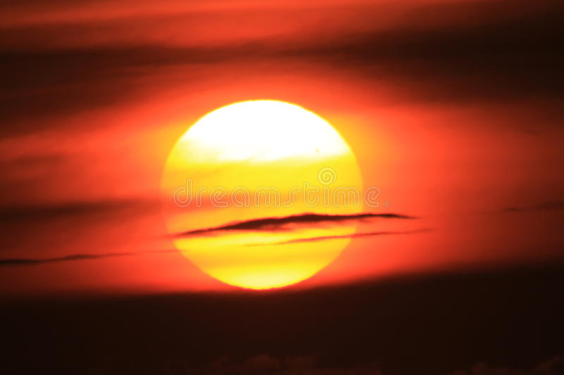 Japan Sunrise Land of the rising sun with clouds haze. Deep red dreamy stock images