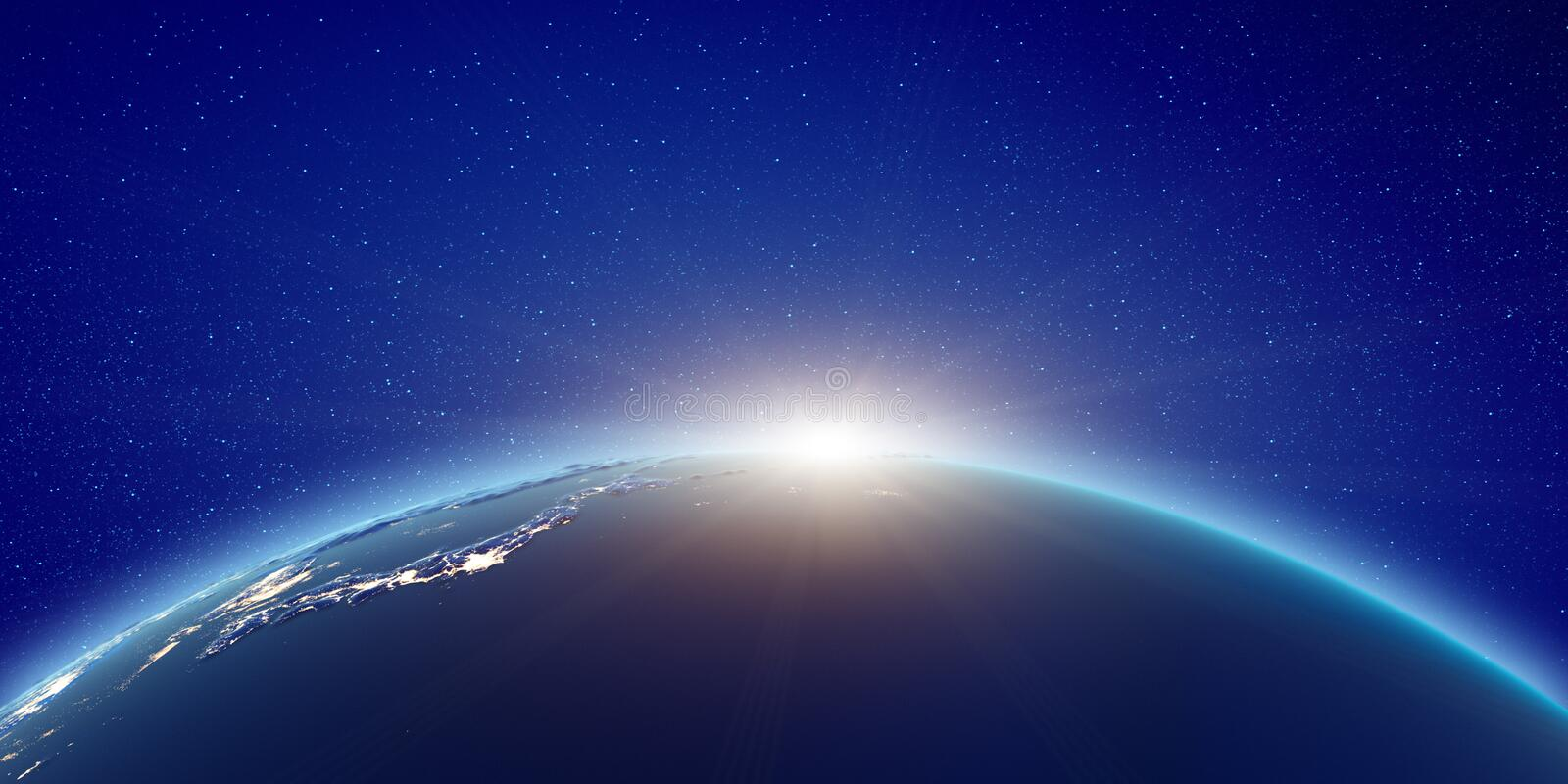 Japan sunrise from space stock illustration