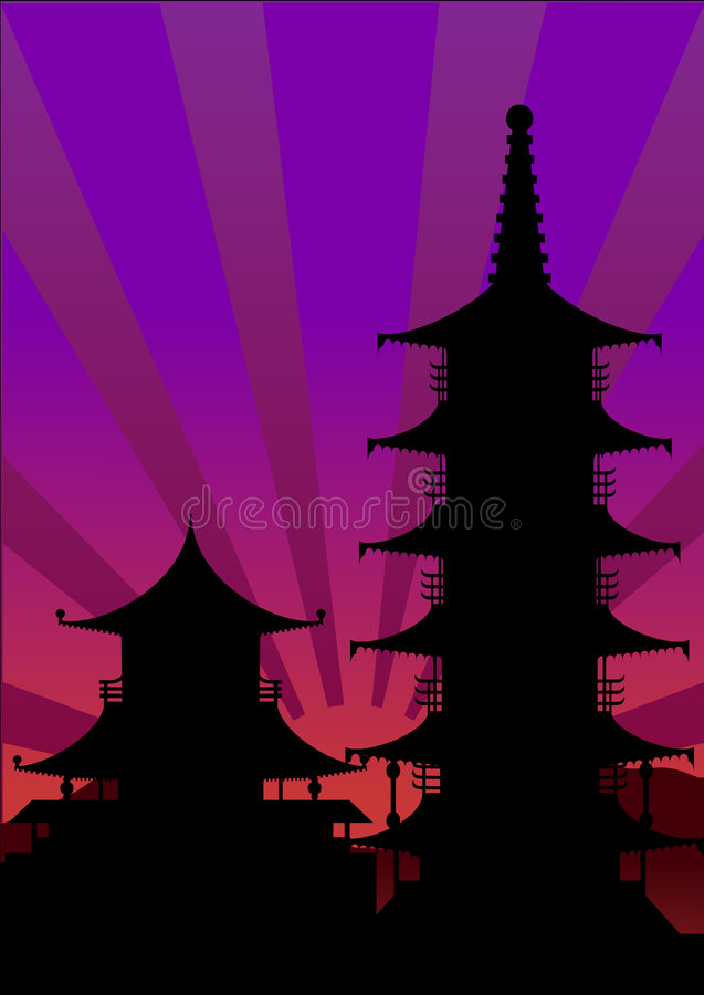 Japan sunset silhouette stock images