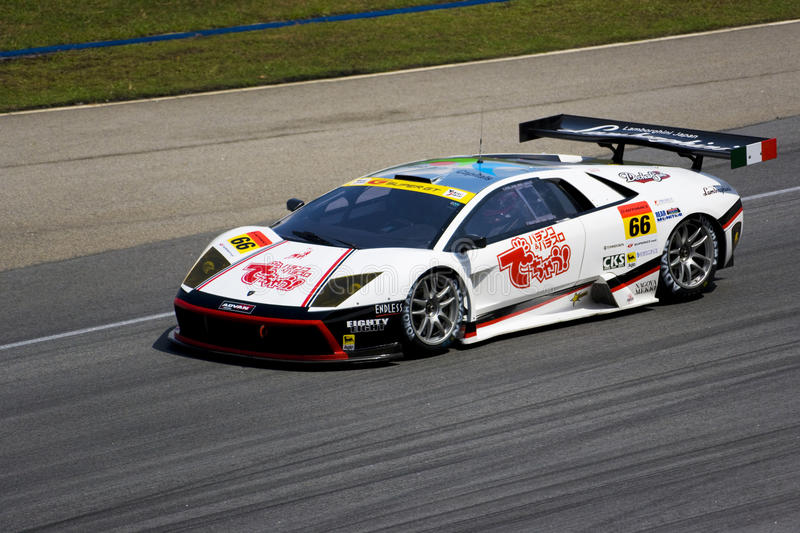 Japan Super GT 2009 - Team J-LOC. Image of Team J-LOC using a Lamborghini Murcielago RG in action at the Japan Super GT Race held at Sepang International Circuit royalty free stock photography