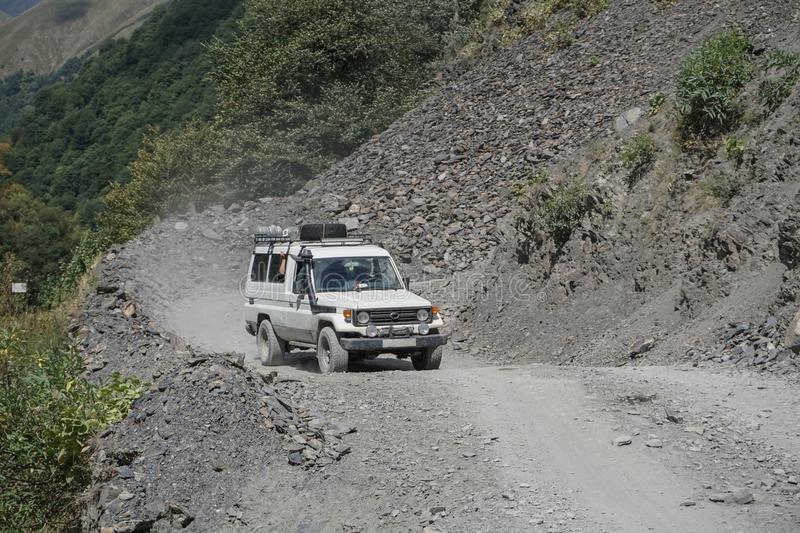 Japan suv driving on the mountains road roadtrip in Gegria. Offroad journey stock photos
