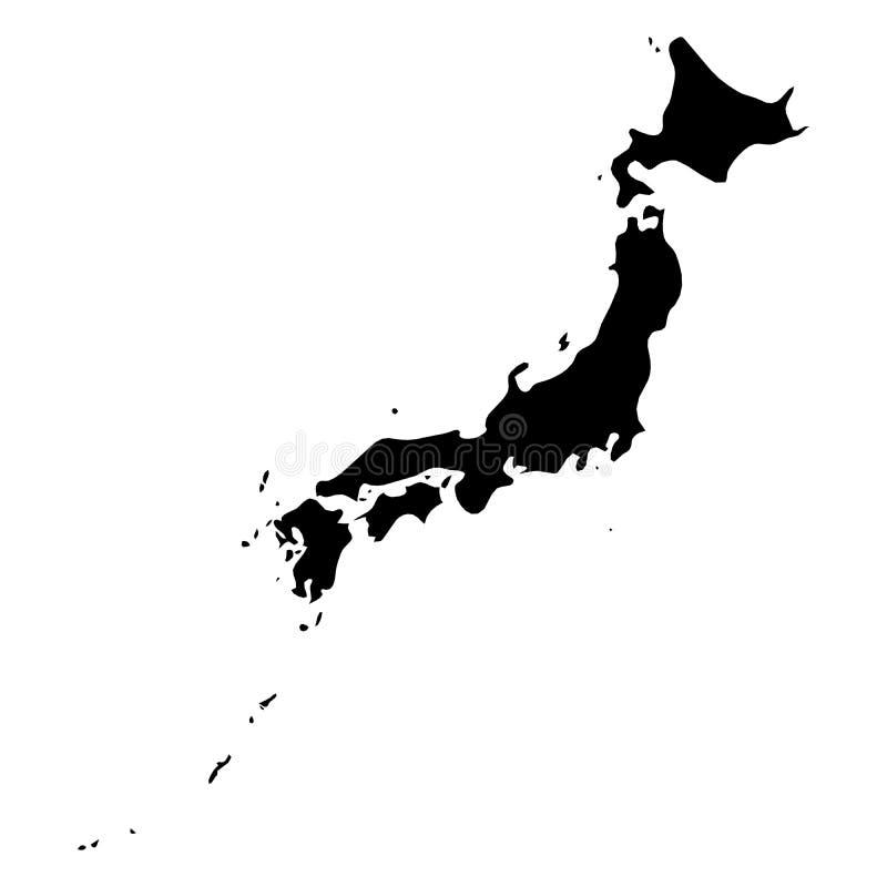 Japan - svart konturöversikt för heltäckande av landsområde Enkel plan vektorillustration stock illustrationer