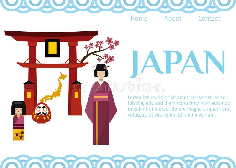 Japan symbols for travellers web vector template. Set of Japanese-themed design elements including geisha, Shinto gate stock illustration