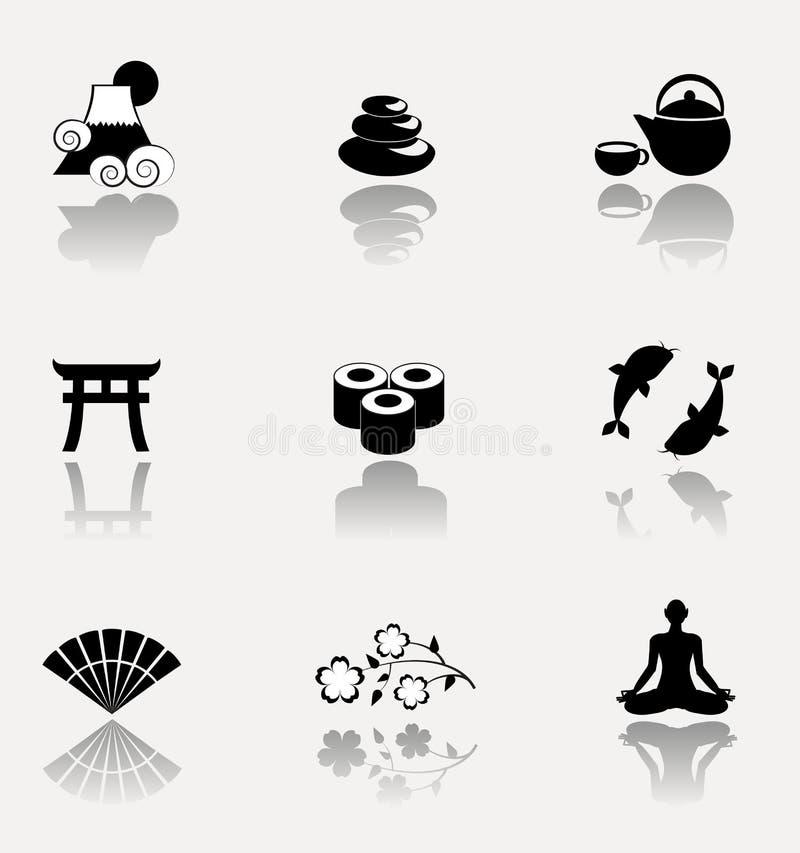 Japan symbolsuppsättning vektor illustrationer