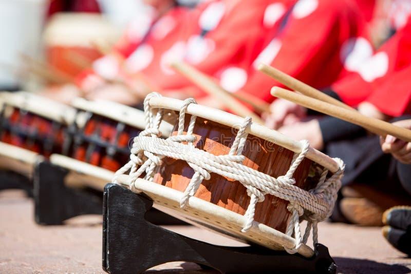Japan Taiko Drums Being Played arkivbild
