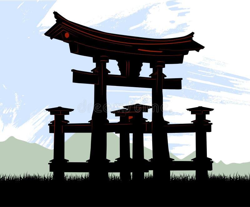 Japan temple. Grunge style japan temple illustration vector stock illustration