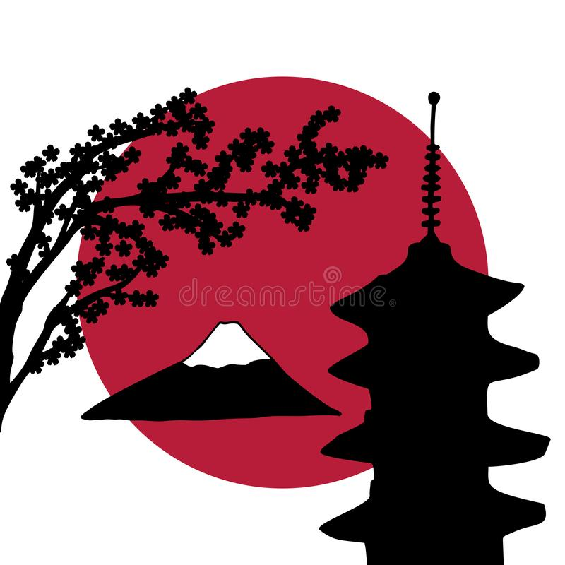 Japan theme design. Japanese theme design of tourism banner, flyer, logo. Vector hand-drawn illustrations of Fuji mountain, pagoda and sakura tree with a red sun stock illustration