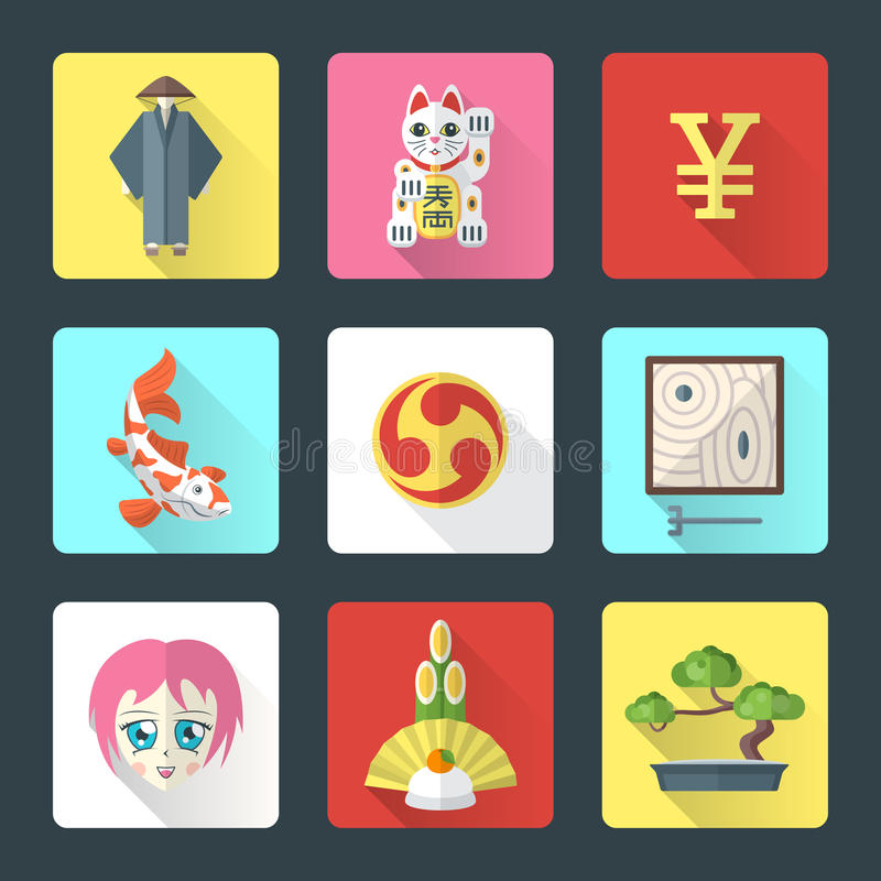 Japan theme flat style icons set. Vector national japanese theme flat design icons with shadow stock illustration