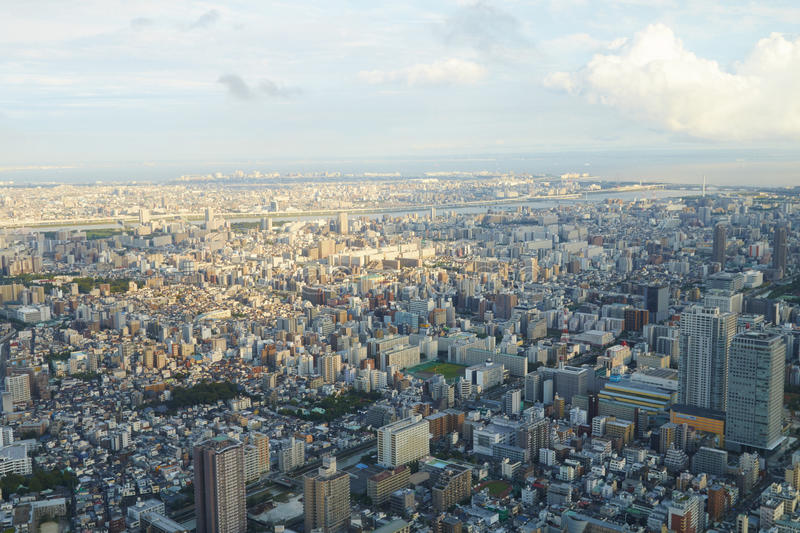 Japan Tokyo cityscape, commercial and residential building, road aerial view stock photos