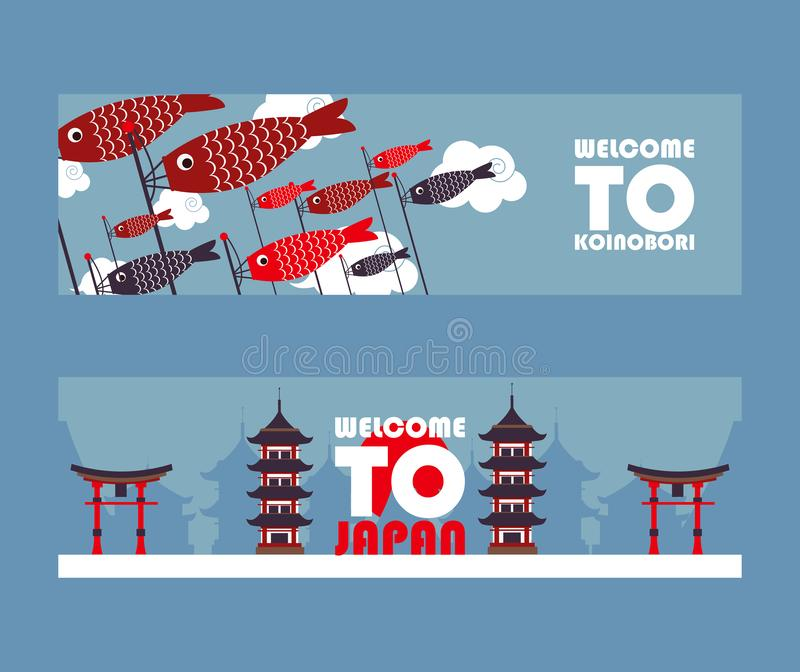 Japan tour banners, vector illustration. Symbols of Asian culture, popular tourist landmarks. Pagoda, torii gate and vector illustration
