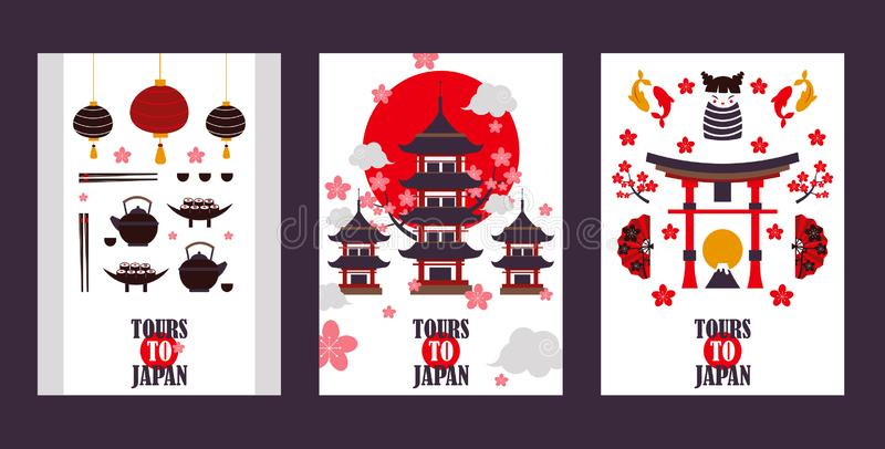 Japan tour banners, vector illustration. Symbols of Asian culture, popular tourist landmarks. Pagoda, torii gate, sushi. Tea and other Japanese attractions royalty free illustration