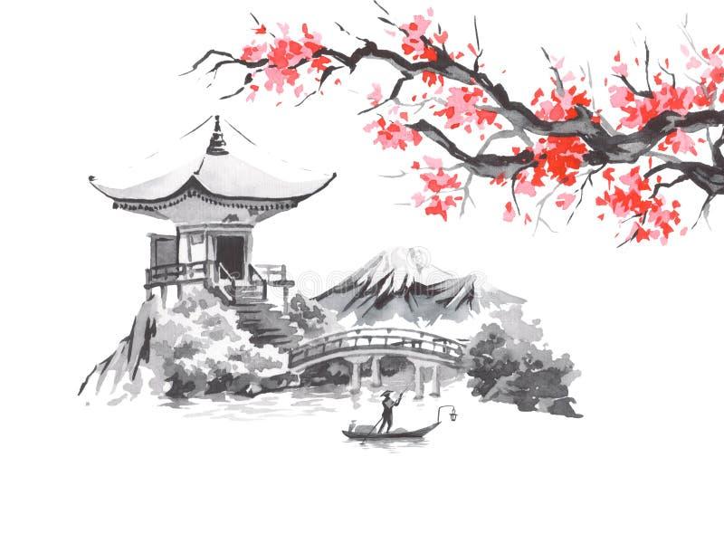Japan traditional sumi-e painting. Fuji mountain, sakura, sunset. Japan sun. Indian ink illustration. Japanese picture. Japan traditional sumi-e painting. Fuji royalty free illustration