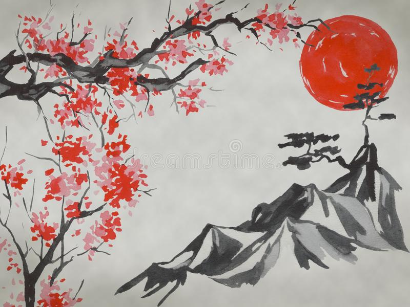 Japan traditional sumi-e painting. Watercolor and ink illustration in style sumi-e, u-sin. Fuji mountain, sakura, sunset vector illustration