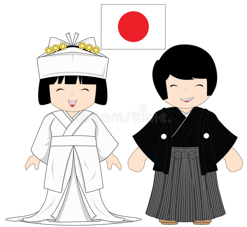 Japan traditionell dräkt royaltyfri illustrationer