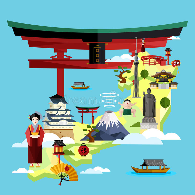Japan travel concept with famous attractions. vector illustration