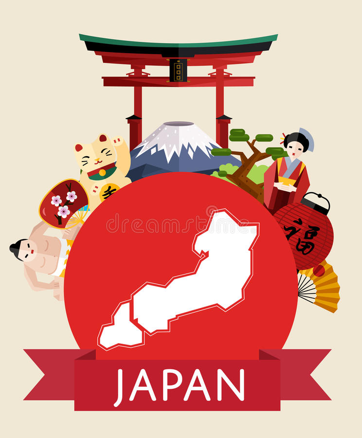 Japan travel concept with famous attractions. royalty free illustration