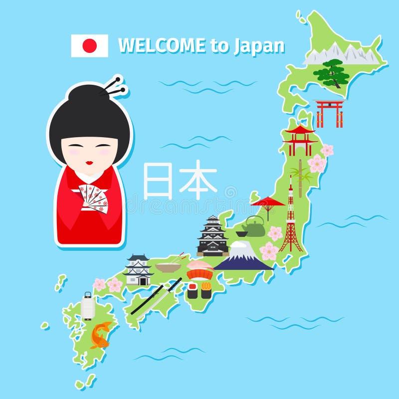 Japan travel map vector illustration