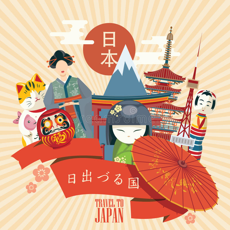 Japan travel poster with fuji and asian icons - travel to Japan. Japan in Japanese. Land of the rising sun in Japanese words. Vector illustration with travel royalty free illustration