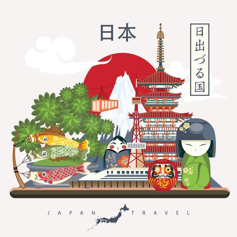 Japan travel poster with pagoda and fuji - travel to Japan. vector illustration