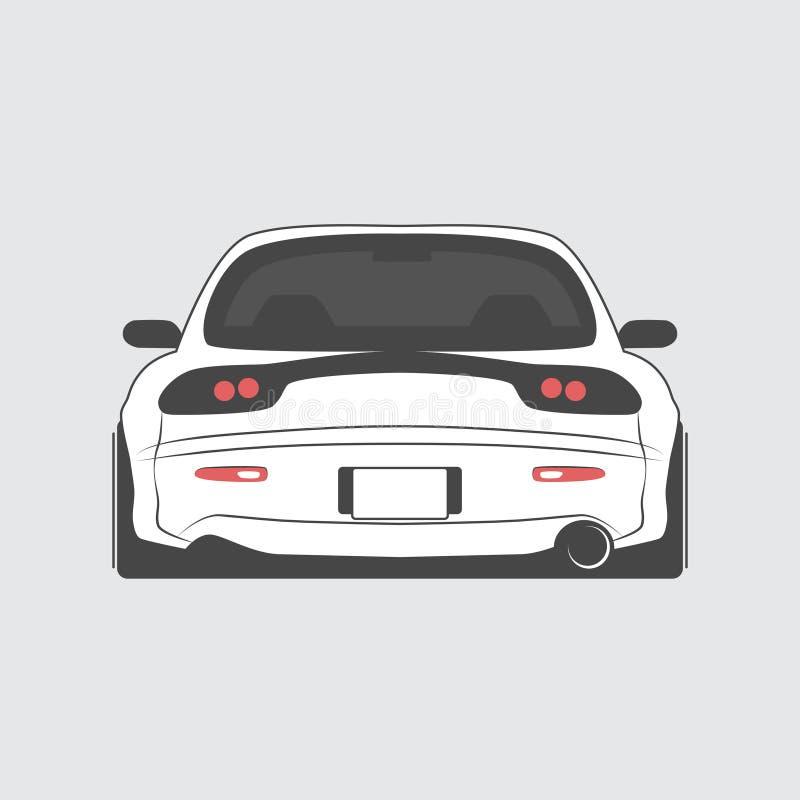 Japan trimmade den isolerade bilen tillbaka sikt också vektor för coreldrawillustration stock illustrationer