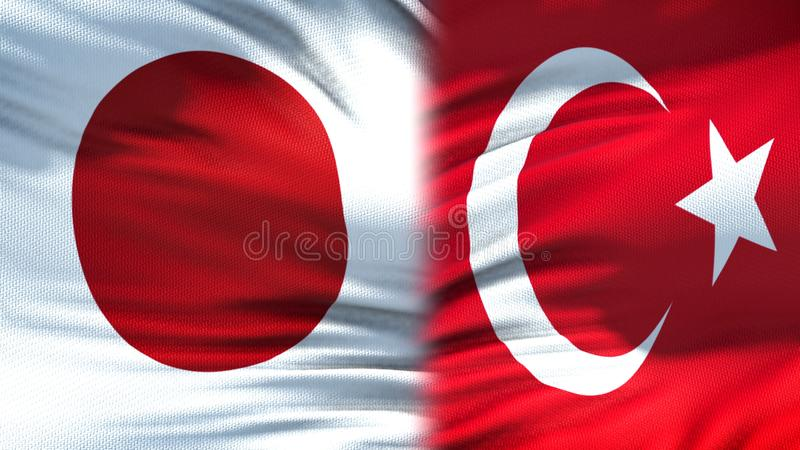 Japan and Turkey flags background, diplomatic and economic relations, finance. Stock photo stock photo