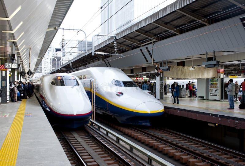 Japan two Shinkansen Trains stock images