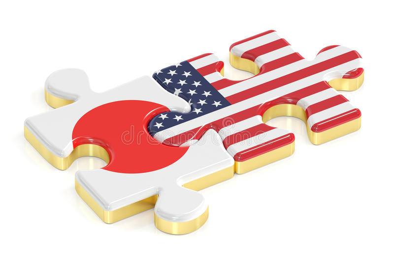 Japan and USA puzzles from flags, 3D rendering stock illustration