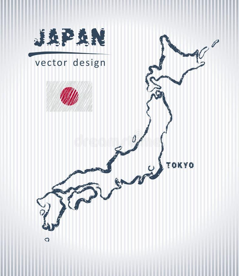 Japan-Vektorkreidezeichnungskarte lokalisiert auf einem weißen Hintergrund lizenzfreie abbildung