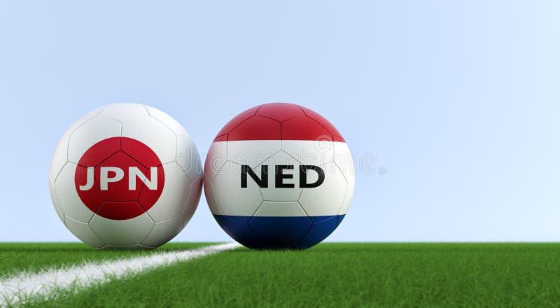 Japan versus De Gelijke van het Netherlandvoetbal - Voetbalballen in de nationale kleuren van Japan en van Nederland op een voetb stock illustratie