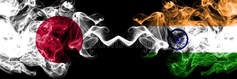 Japan versus India, Indische rokerige zij aan zij geplaatste mysticusvlaggen Dik gekleurde zijdeachtige rookcombinatie van India, vector illustratie