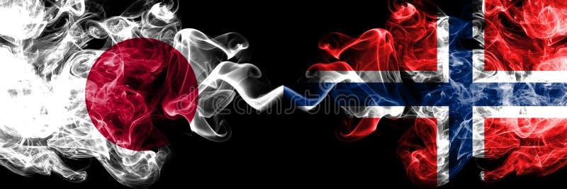 Japan versus Noorwegen, Noorse rokerige zij aan zij geplaatste mysticusvlaggen Dik gekleurde zijdeachtige rookcombinatie van Noor stock illustratie