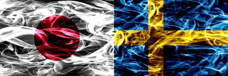 Japan versus Zweden, Zweedse zij aan zij geplaatste rookvlaggen stock afbeelding