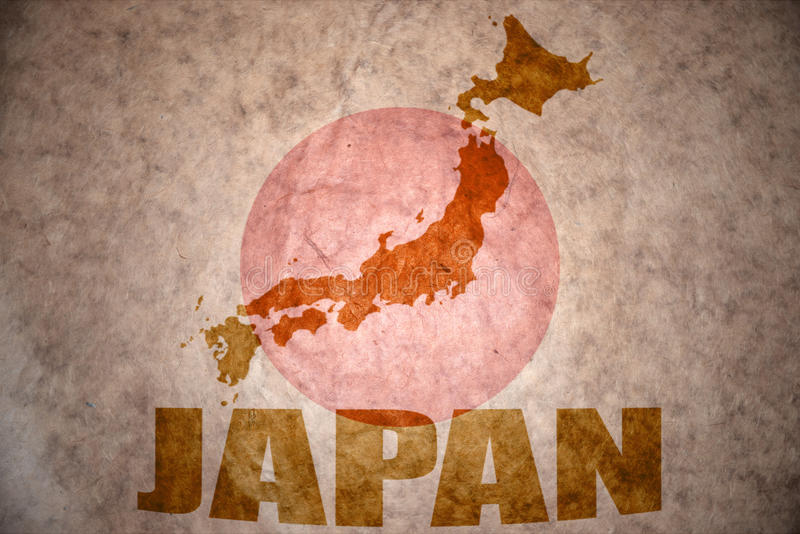Japan vintage map. Japan map on a vintage japanese flag background stock photography