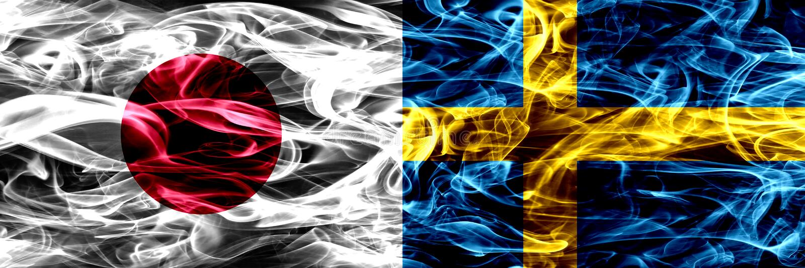 Japan vs Sweden, Swedish smoke flags placed side by side. stock image